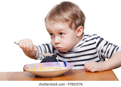 Child breakfast isolated over white background