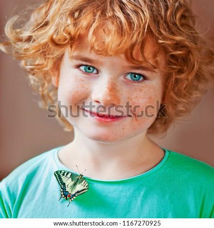 Child Butterfly Beautiful Kid Boy Girl Stock Photo Edit Now