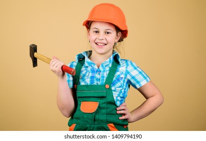Child care development. Future profession. Builder engineer architect. Kid builder girl. Build your future yourself. Initiative child girl hard hat helmet builder worker. Tools to improve yourself.