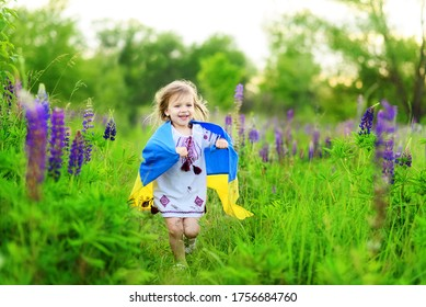 Child carries fluttering flag of Ukraine in field. Ukraine's Independence Day. Flag Day. Constitution day. Girl in traditional embroidery with flag of Ukraine