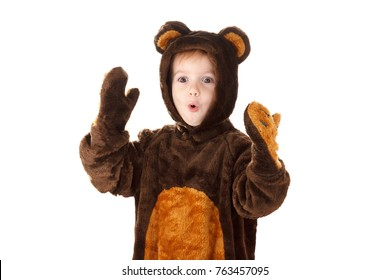 Child in a christmas carnival bear costume isolated on white background
