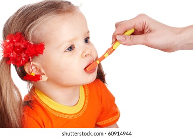 Child clean brush one's teeth. Isolated.