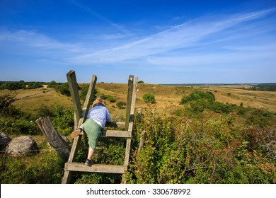 Child climbing ladder over fence in meadow in Skane in southern Sweden