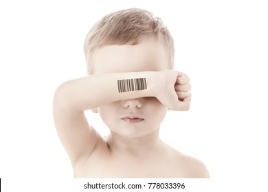Child with a code of genetic studies and experiments. Clone of DNA and human genome. Artificial intelligence concept.