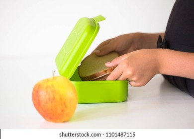 Child collects lunch for school in the kitchen. Child puts rye bread sandwich in the lunchbox. Next to the lunchbox is an apple. Kid himself prepares for school. Back to school.