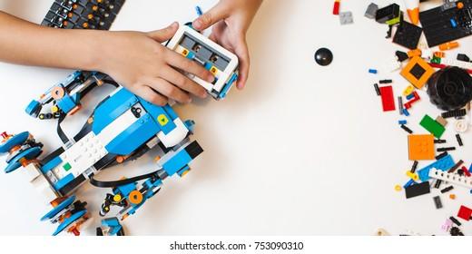 Child Collects Robot Plastics Details Programmed Stock Photo