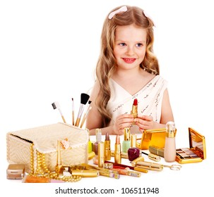 Child cosmetics. Little girl with lipstick. Isolated.