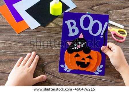 Child Create Birthday Card Halloween Paper Stock Photo Edit Now