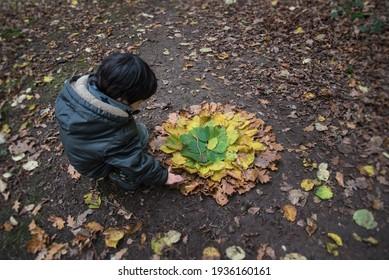 Enfant créant de l'art terrestre avec des feuilles d'automne multicolores dans la forêt. Activités créatives pour les enfants. École de forêt.