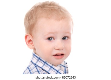 child crying over white background close up portrait