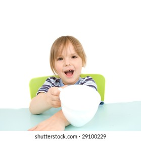child with cup isolated on white