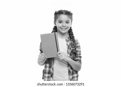 Child cute girl hold notepad or diary isolated on white background. Diary writing for children. Childhood memories. Diary for girls concept. Note secrets down in your cute girly diary journal.