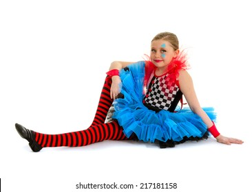 A Child Dance Performer Dressed in Circus Clown Costume