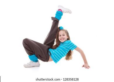 child dancer doing dance exercising