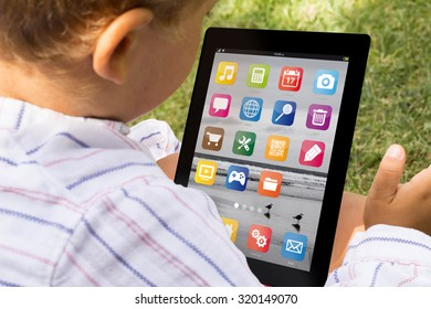child with digital generated tablet. All screen graphics are made up.
