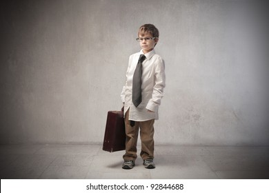 Child disguised as a businessman