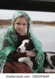 A child and a dog in a flood disaster area. The girl was crying, soaked in the rain