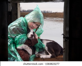 A child and a dog in a flood disaster area. The girl was crying. Waiting for help rescuers under the bridge