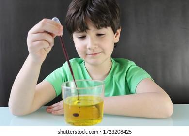 Kind, das ein Experiment durchführt, eine Lavalampe mit Wasser, Öl, Farbstoff und Brausetablette