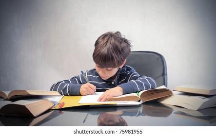 Child doing his homework