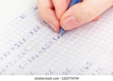 Child Doing Math. Close up