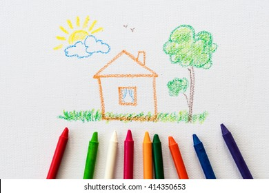 child drawing home, drawing with pencil painting picture on paper, artwork workplace