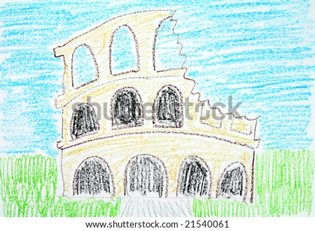 Child Drawing Rome Landmark Colosseum Coliseum Stock Photo Edit Now