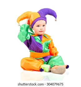 child dressed in carnival costume fantastic character parsley. shot in studio.