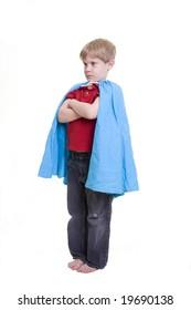 A child dressed in a super hero costume.