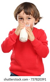 Child drinking milk kid glass healthy eating portrait format isolated on a white background