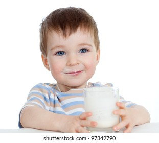 child drinking yogurt or kefir over white background