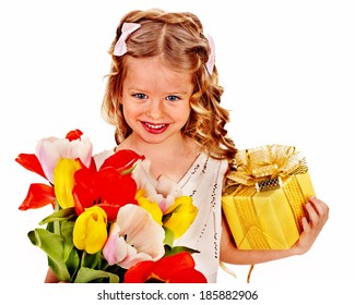 Child with easter tulip flower and gift box.