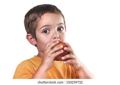 child eating an apple on white background