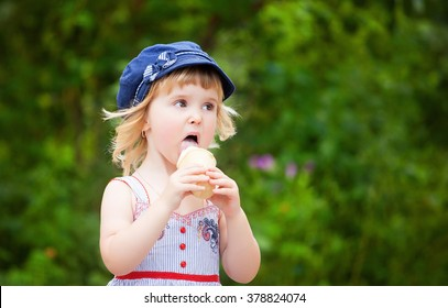child eating ice cream in summer