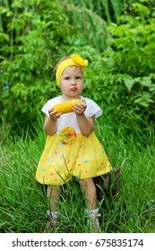 The child eats the corn in nature. Funny little girl eats in the Park.