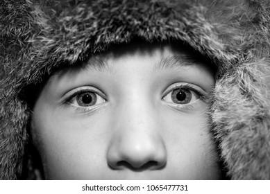 child eyes - black and white photo