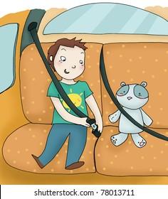 A child fastens the seat belt. Digital