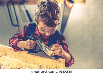 Child and fathers day, concept carpenter tool wood gift,  home.