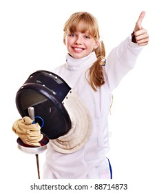 Child in fencing costume holding epee thumb up. Isolated.