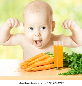 Child and fresh carrot juice glass. Concept: healthy vegetable food diet make baby strong and happy