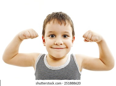 Child. Funny Little Boy.Sport Handsome Boy. Strong. bodybuilder. showing his hand biceps muscles.  Isolated on a white background