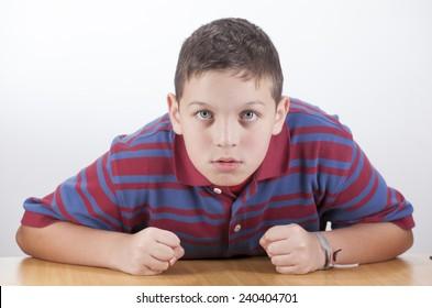 Child gesturing on white background