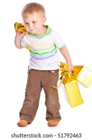 Child with gifts. Isolated on white background