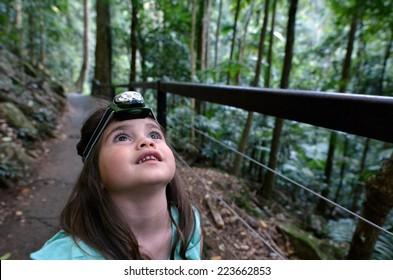 Child (girl age 04) during a rainforest walk in Springbrook National Park in Queensland Australia.