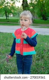 Child girl baby summer dandelion
