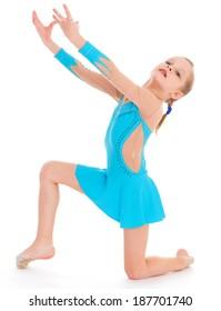 child girl doing fitness exercises. Isolated on white background.