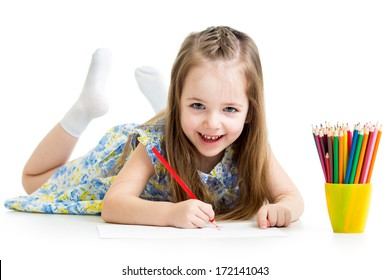 child girl drawing with pencils