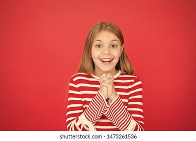 Child girl dreaming her wish come true. Miracle happens. Little girl smiling full of hope. My secret wish. Make a wish. Hope for the best. Girl hopeful excited face making wish. Believe in miracle.