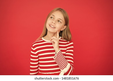 Child girl dreaming her wish come true. Miracle happens. Little girl thoughtful full of hope. My secret wish. Make a wish. Hope for the best. Girl hopeful dreamy face making wish. Believe in miracle.