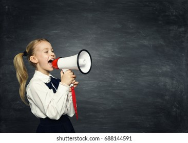 Child Girl Megaphone Announcement, School Kid Announce Scream Speaker over Blackboard